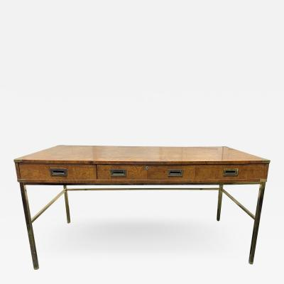 Milo Baughman 1970s Olivewood and Brass Desk