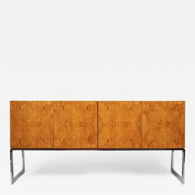 Milo Baughman 1970s Signed Milo Baughman Credenza or Buffet in Burl Wood