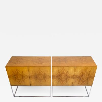 Milo Baughman 2 Milo Baughman Buffet Cabinets for Thayer Coggin in Olive Burl Wood 1960s