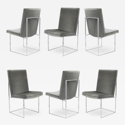 Milo Baughman 6 Milo Baughman for Thayer Coggin Thin Frame Dining Chairs in Gunmetal Mohair
