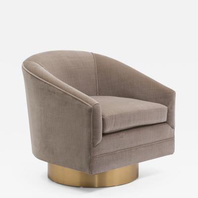 Milo Baughman A Milo Baughman Designed Velvet Upholstered Swivel Chair 1970s