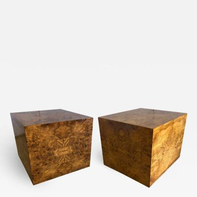 Milo Baughman A Pair of American Modern BurledWood Cube Pedestals End Tables Milo Baughman