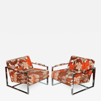 Milo Baughman A Pair of Milo Baughman Polished Chrome Club Chairs