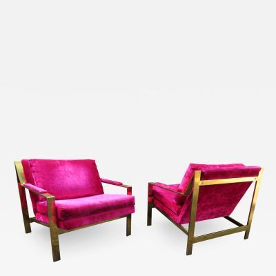 Milo Baughman Amazing Pair of Milo Baughman Style Brass Flatbar Lounge Chair Midcentury