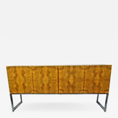 Milo Baughman American Modern Burl Walnut Four Door Sideboard or Buffet