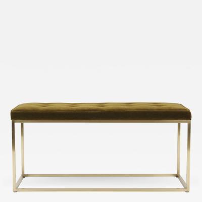 Milo Baughman Architectural Brass Frame Bench by Milo Baughman