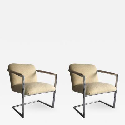 Milo Baughman Architectural Chrome Chairs in the Manner of Milo Baughman a Pair
