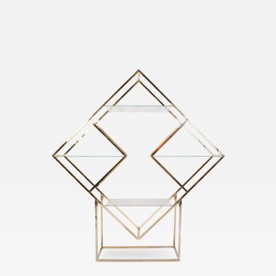 Milo Baughman Brass Diamond Sculptural Etagere