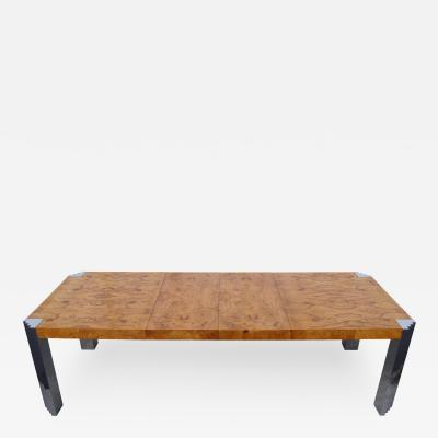 Milo Baughman Burl Wood and Chrome Dining Table by Milo Baughman for Pace