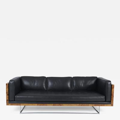 Milo Baughman Burl Wood and Leather Case Sofa on Chrome Frame by Milo Baughman