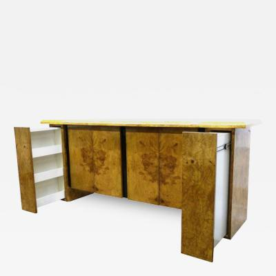 Milo Baughman Burled Wood Bar or Cabinet in the Manner of Milo Baughman