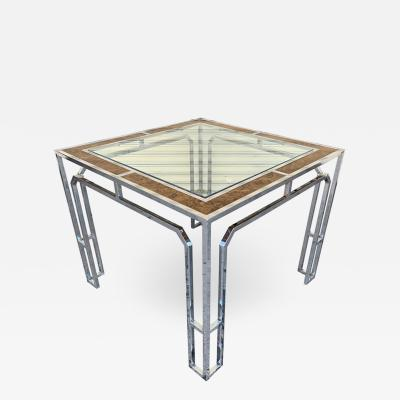Milo Baughman Chrome Burl Wood Dining Table by Milo Baughman