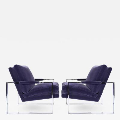 Milo Baughman Chrome Flat Bar Lounge Chairs by Milo Baughman