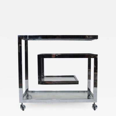 Milo Baughman Chrome Glass Bar Cart