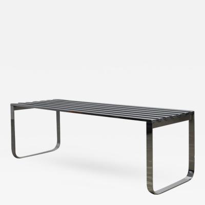 Milo Baughman Chrome Slat Bench by Milo Baughman