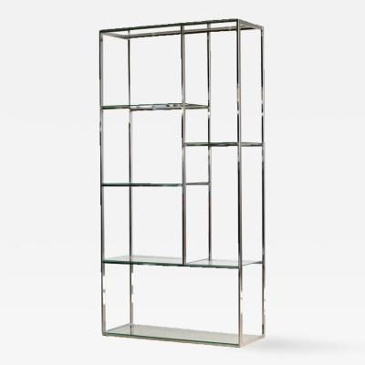 Milo Baughman Chrome and Glass Etagere in the Style of Milo Baughman