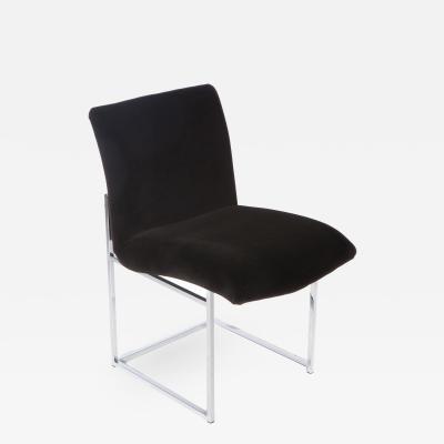 Milo Baughman Chrome and Mohair Dining or Desk Chair by Milo Baughman Circa 1970s