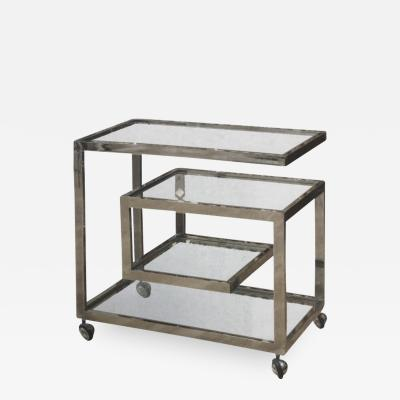 Milo Baughman Chrome bar cart by Milo Baughman