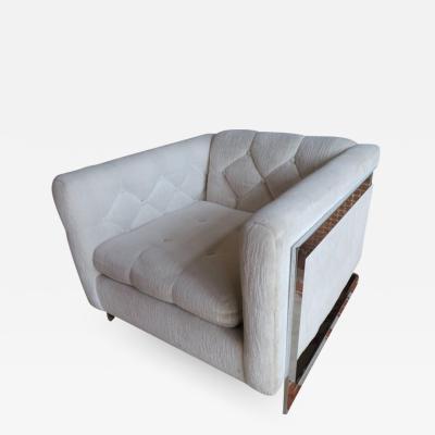 Milo Baughman Chunky Milo Baughman Chrome Flat Bar Lounge Chair Mid Century Modern