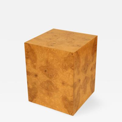 Milo Baughman Contemporary Burled Cube form Occasional Table