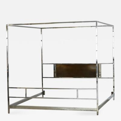 Milo Baughman Cubistic King Size Four Poster Chrome Canopy Bed in the Style of Milo Baughman