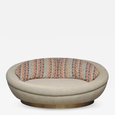 Milo Baughman Cuddle Pod Lounge Sofa on Brushed Brass Base circa 1970s