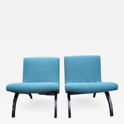 Milo Baughman Excellent Early Pair of Milo Baughman Scoop Chairs