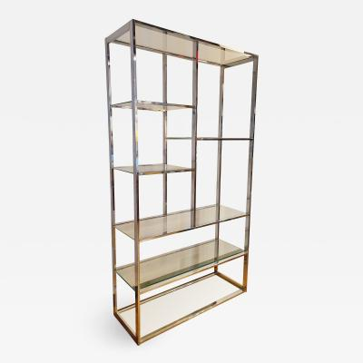 Milo Baughman FLAT BAR CHROME AND GLASS ETAGERE IN THE MANNER OF MILO BAUGHMAN