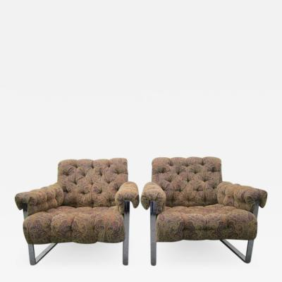 Milo Baughman Fabulous Pair of Milo Baughman Tufted Lounge Chairs Mid Century Modern
