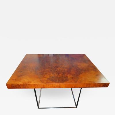 Milo Baughman Fantastic Milo Baughman Burled Walnut Side End Table Thin Chrome Frame