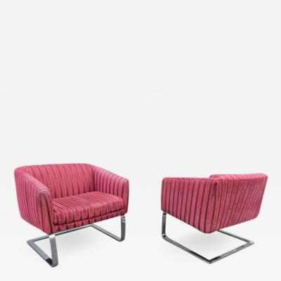 Milo Baughman Fantastic Pair of Milo Baughman Style Selig Chrome Cantilevered Lounge Chairs