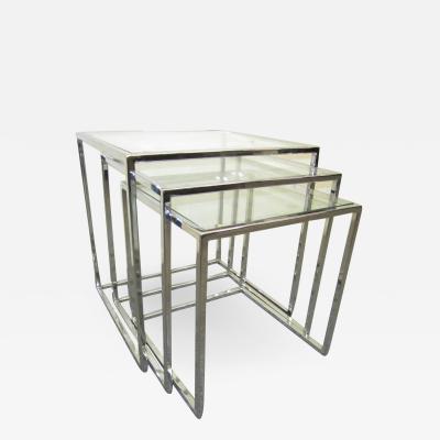 Milo Baughman Fantastic Set of Milo Baughman Chrome Nesting Tables Mid Century Modern