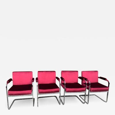 Milo Baughman Four Milo Baughman Chrome Chairs