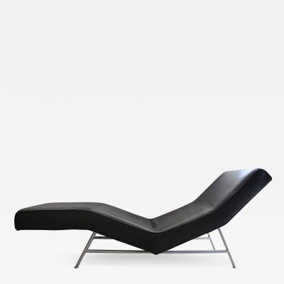 Milo Baughman Fred Chaise Lounge in Black Leather by Milo Baughman for Thayer Coggin