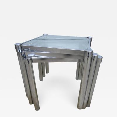 Milo Baughman Fun Set of Milo Baughman Style Square Chrome and Glass Stacking Nesting Tables