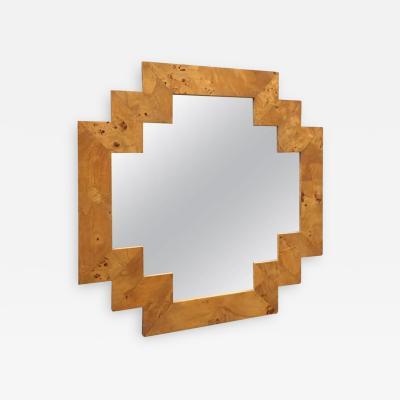 Milo Baughman Geometric Italian Burl Mirror