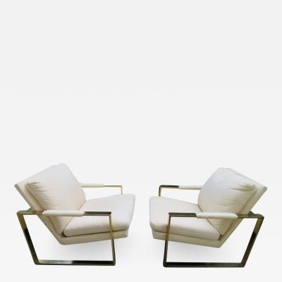 Milo Baughman Handsome Pair Milo Baughman Brass Cube Chairs Mid Century Modern