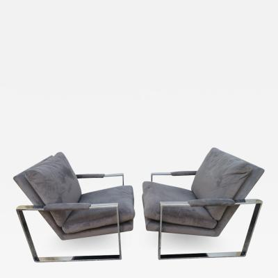 Milo Baughman Handsome Pair Signed Milo Baughman Thick Chrome Cube Lounge Chairs Midcentury