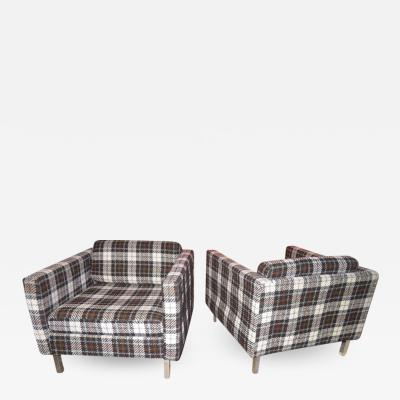 Milo Baughman Handsome Pair of Milo Baughman Style Plaid Chrome Cube Lounge Chairs