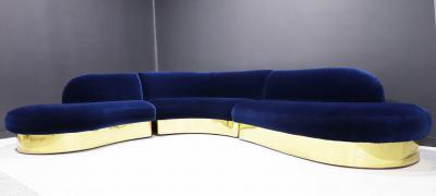 Milo Baughman Large Milo Baughman Serpentine Cloud Sofa in Navy Blue Velvet
