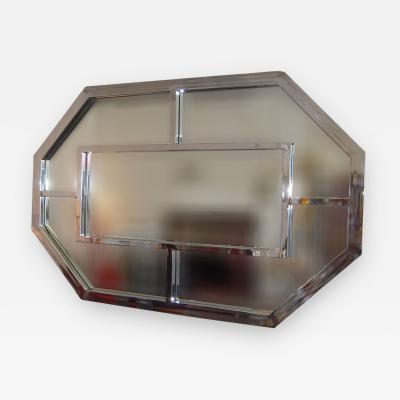 Milo Baughman Large Stainless Steel Mirror Attributed to Milo Baughman