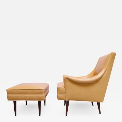 Milo Baughman Leather and Walnut Milo Baughman for James Inc Lounge Chair and Ottoman