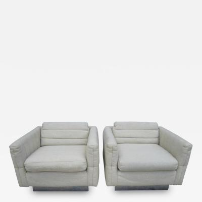 Milo Baughman Lovely Pair of Channel Tufted Milo Baughman Cube Chairs Chrome Base Mid Century