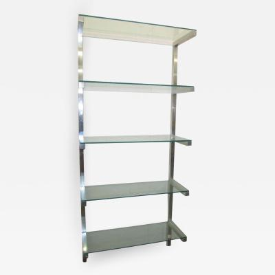 Milo Baughman Lovely Pair of Floating Aluminum and Glass Shelves Etagere Mid century Modern
