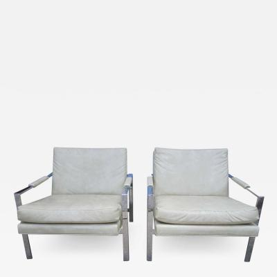 Milo Baughman Lovely Pair of Milo Baughman Chrome Cube Chairs Mid Century Modern