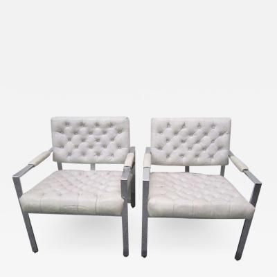 Milo Baughman Lovely Pair of Milo Baughman Thayer Coggin Tufted Chrome Lounge Chairs