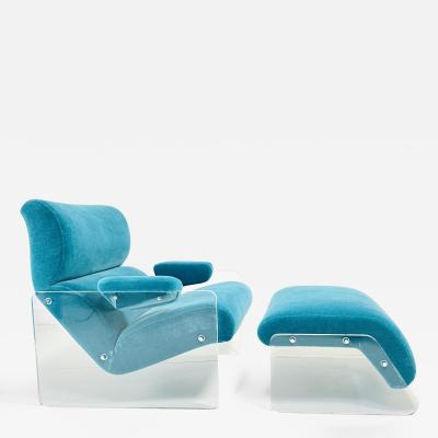Milo Baughman Lucite and Teal Mohair Floating Lounge Chair With Ottoman 1970