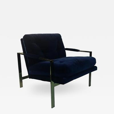 Milo Baughman Luxurious Milo Baughman Lounge Chair Upholstered in Lush Blue Velvet