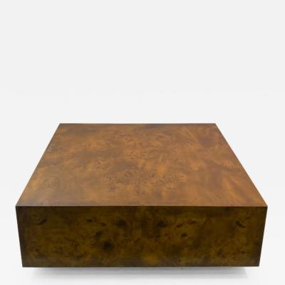 Milo Baughman MILO BAUGHMAN BURLED WOOD COFFEE TABLE