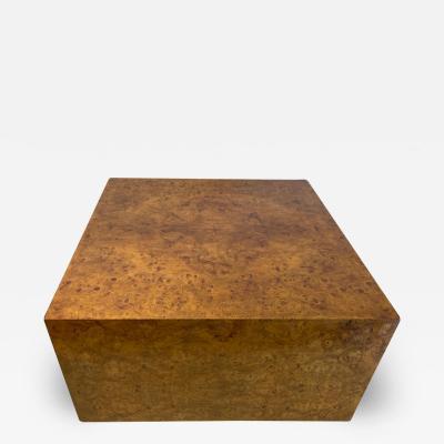Milo Baughman MODERN BURLWOOD CUBE COFFEE TABLE BY MILO BAUGHMAN